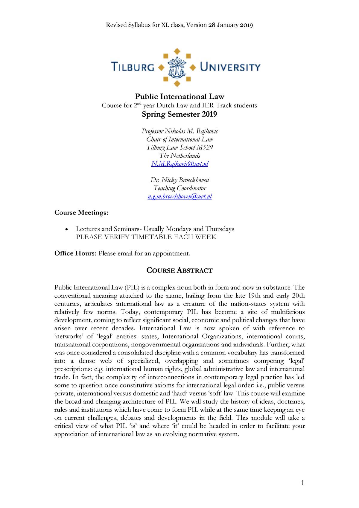 Public International Law LLB Syllabus 2019 - 620228