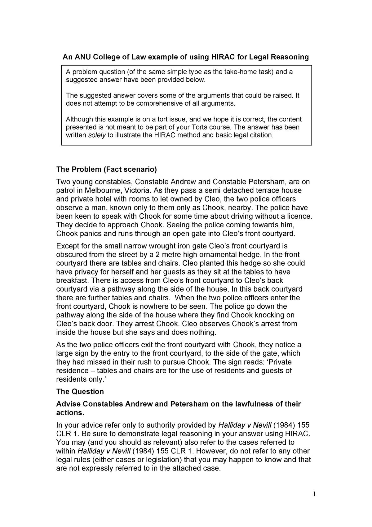 Sample/practice exam 2017, answers - LAWS1201 - ANU - StuDocu
