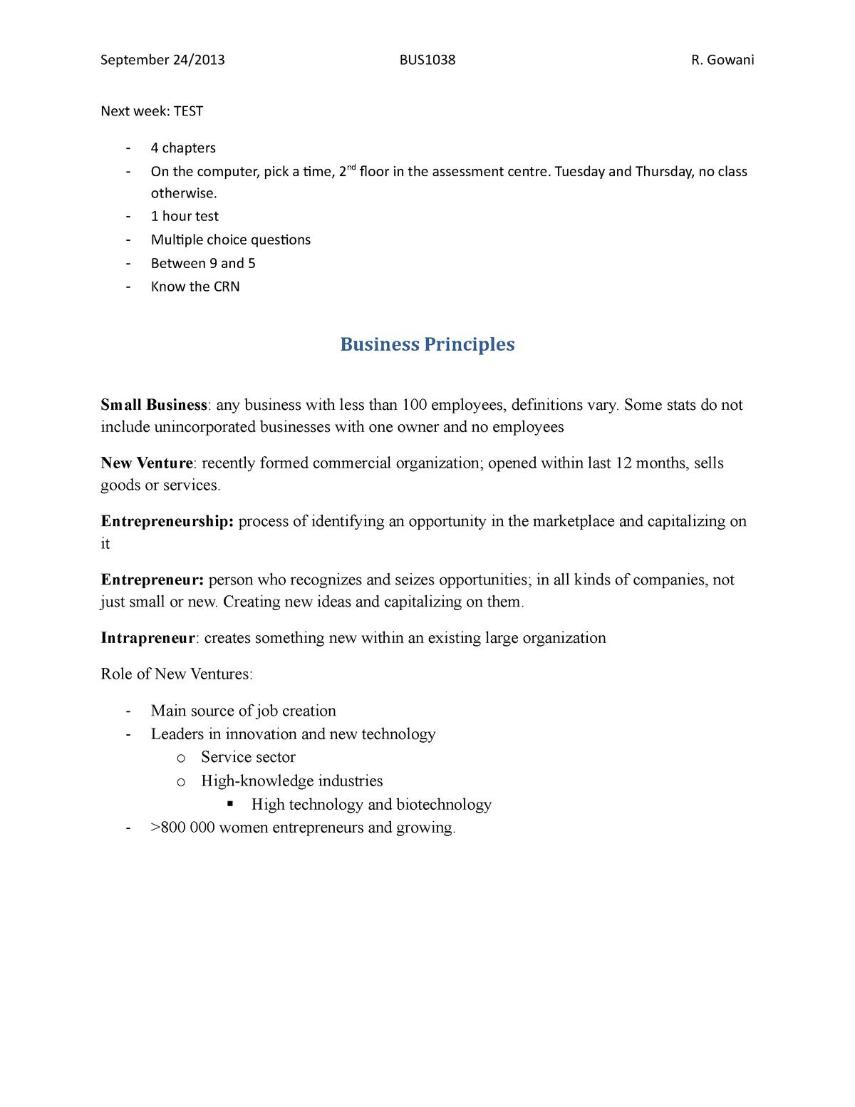 Business Principles - BUS1038: Business Concepts 1 - StuDocu