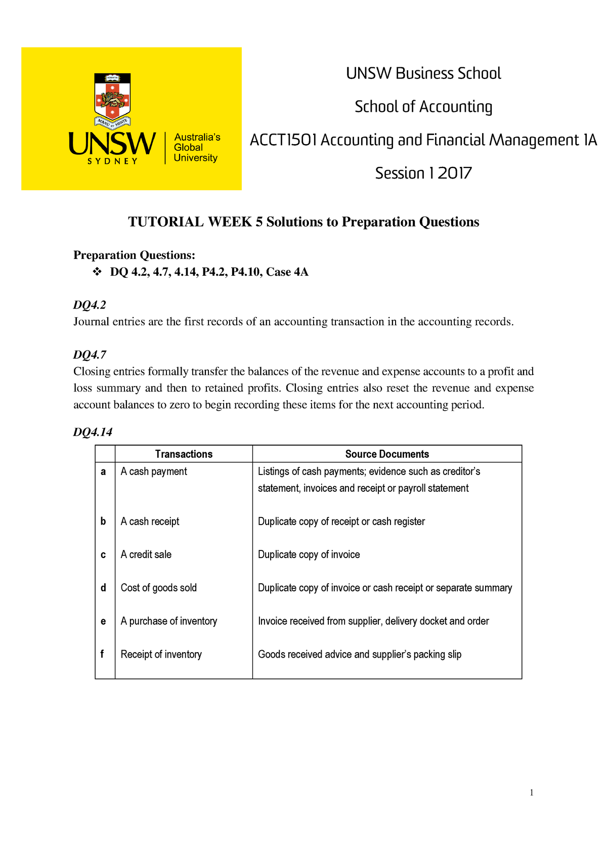 PQ Ans Wk5 - Practice Solutions - ACCT1501: Accounting and