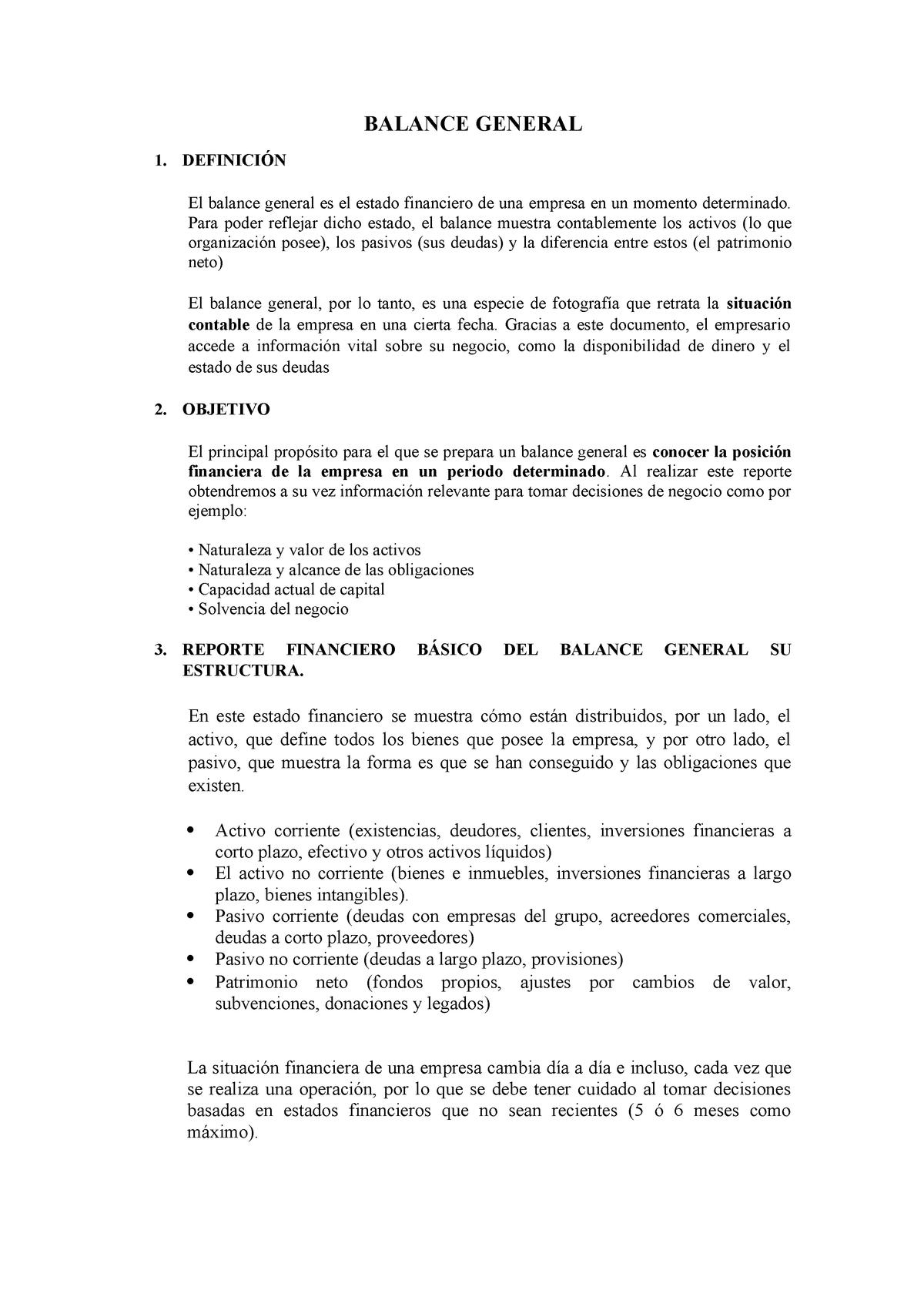 Balance General 220 Aplicación De La Teoría Mas La Breve