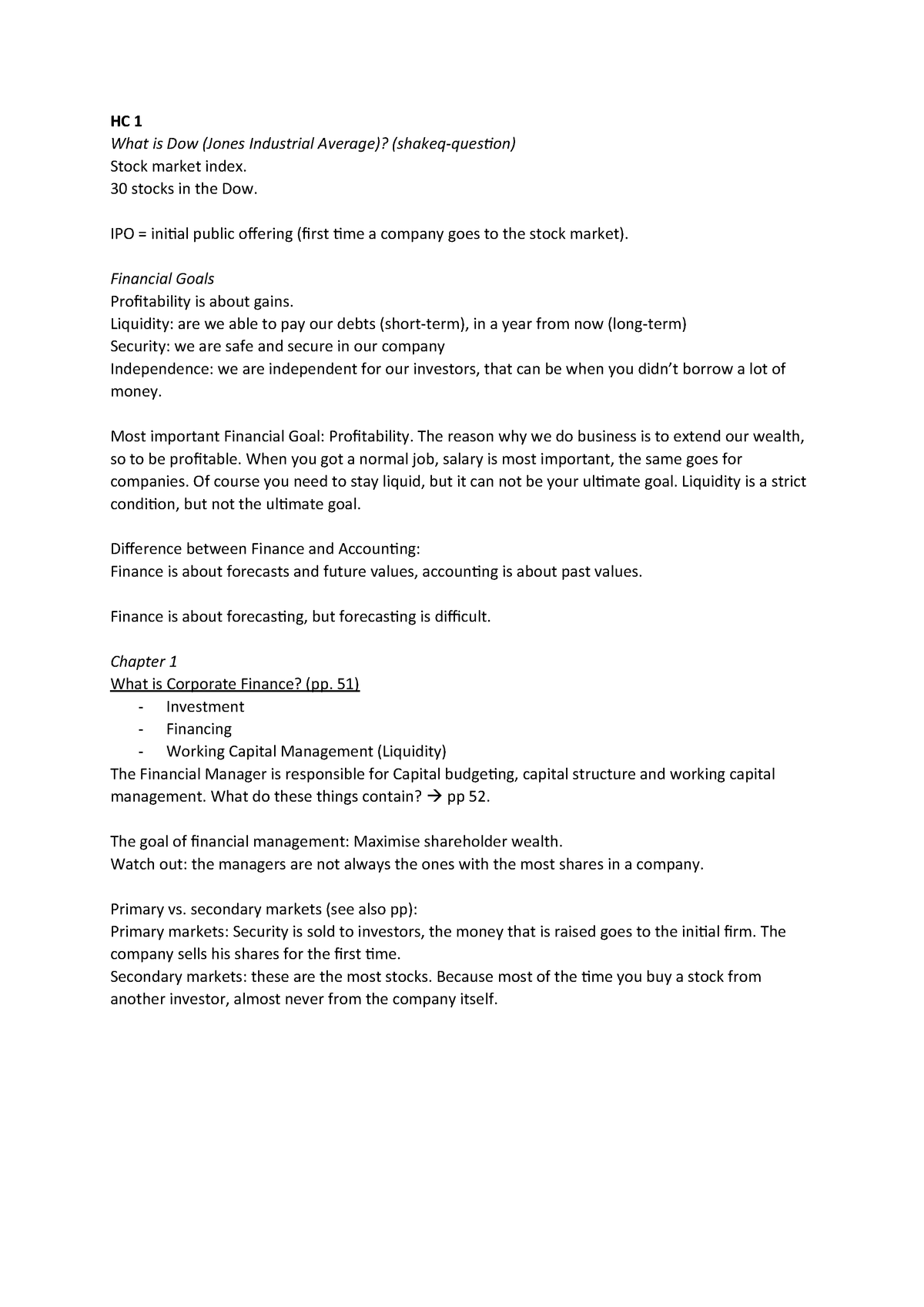 HC 1 - aantekeningen - MAN-BCU2020: Corporate Finance - StuDocu