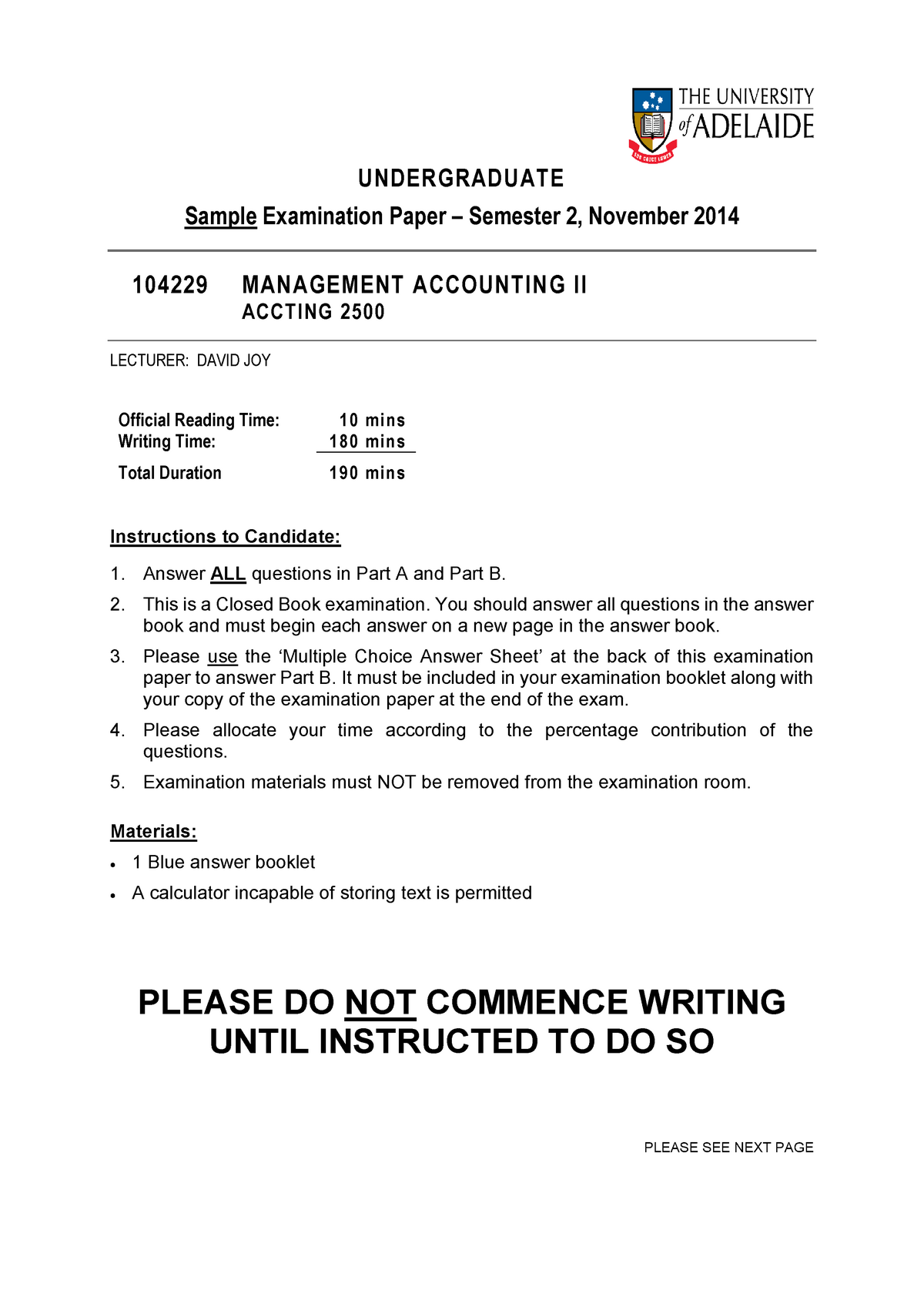 Management Accounting II - Sample Exam S2 2014 - Adelaide