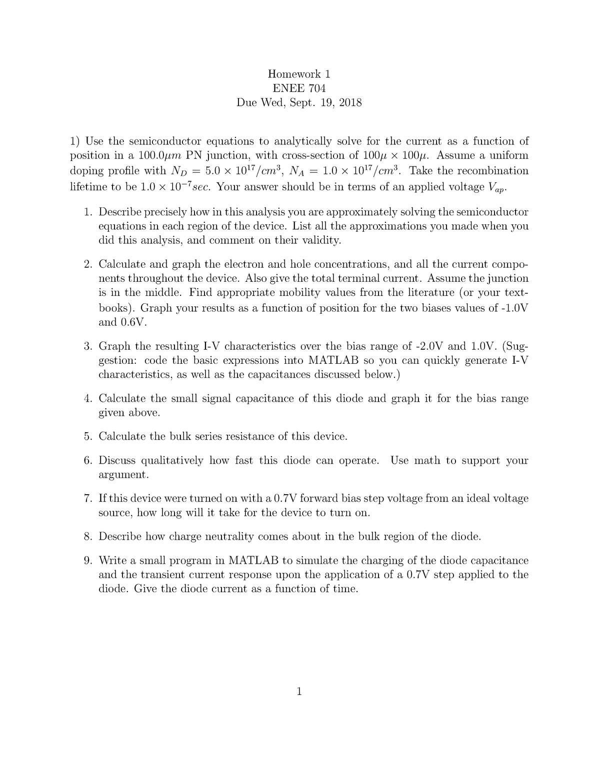 HW#1 - Homework 1 - ENEE704: Physics and Simulation of