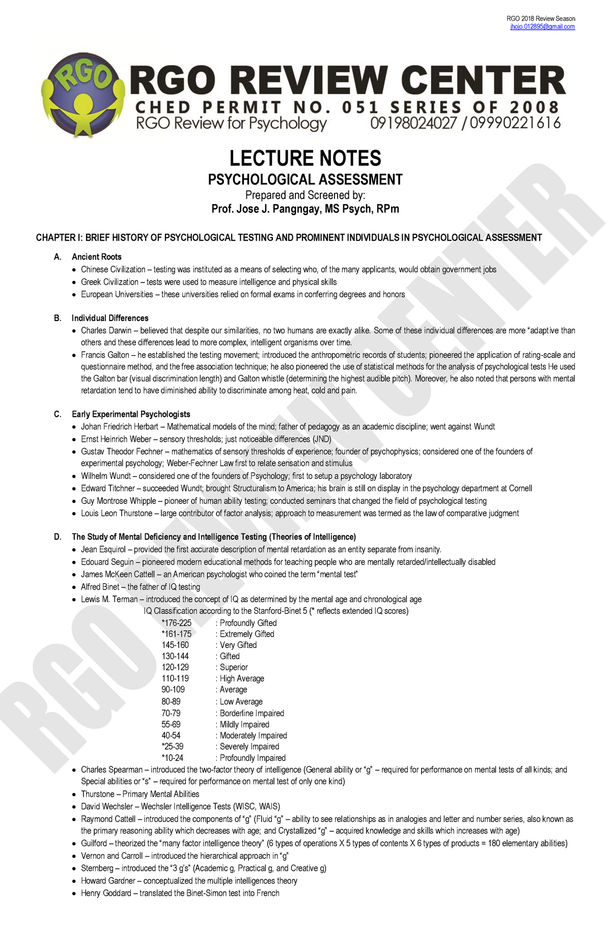 JOJO Psychological-Assessment-Lecture-Notes - 75120 - StuDocu