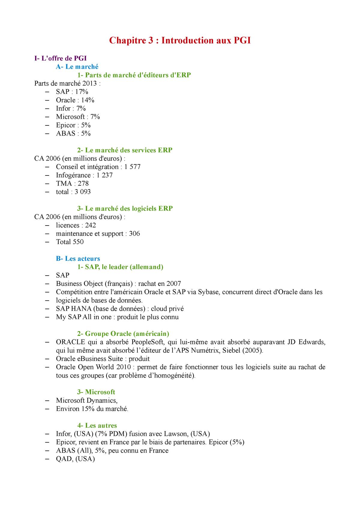 Chapitre 3 - Introduction aux PGI - F3899: Système d