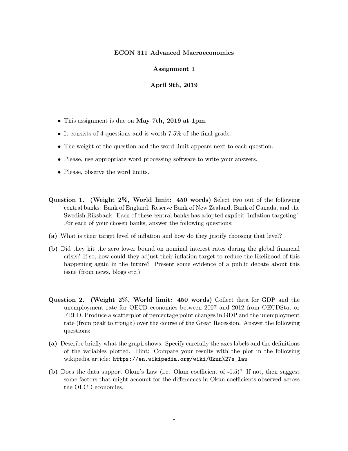ECON 311 Assignment 1 - ECON311: Advanced Macroeconomics - StuDocu