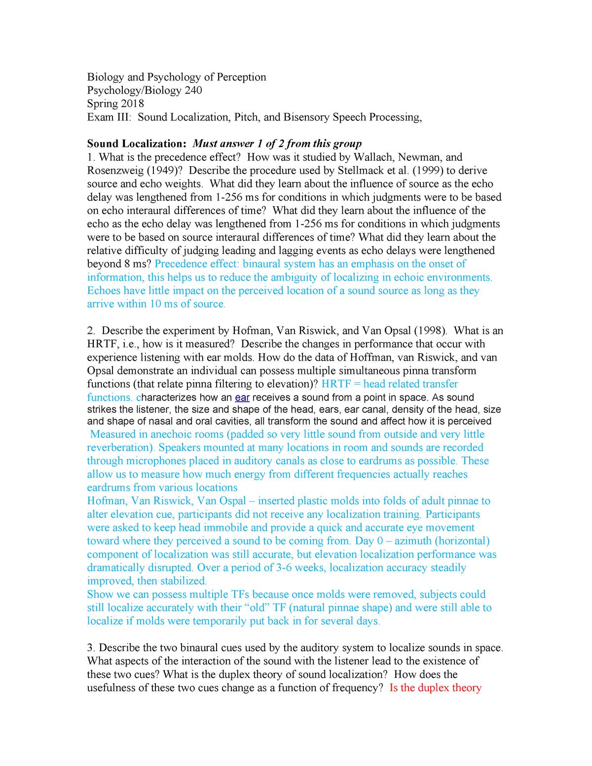 Exam 2018 - PSYC240: Psychology & Biology of Perception - StuDocu