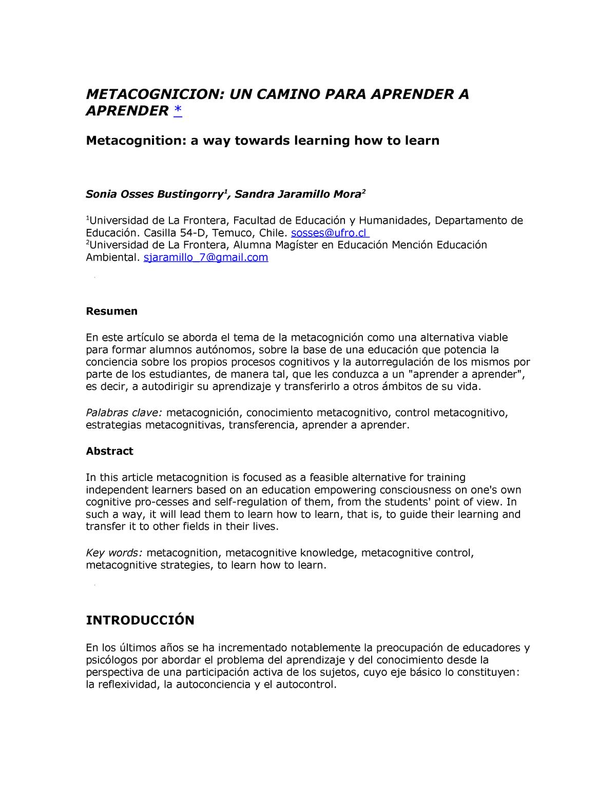 Metacognicion Zoologia 245132 Udec Studocu