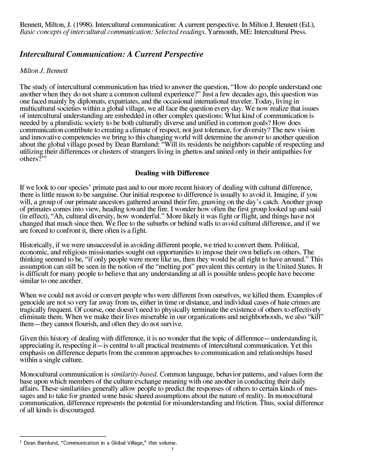 Bennett, Basic Concepts of intercultural communication