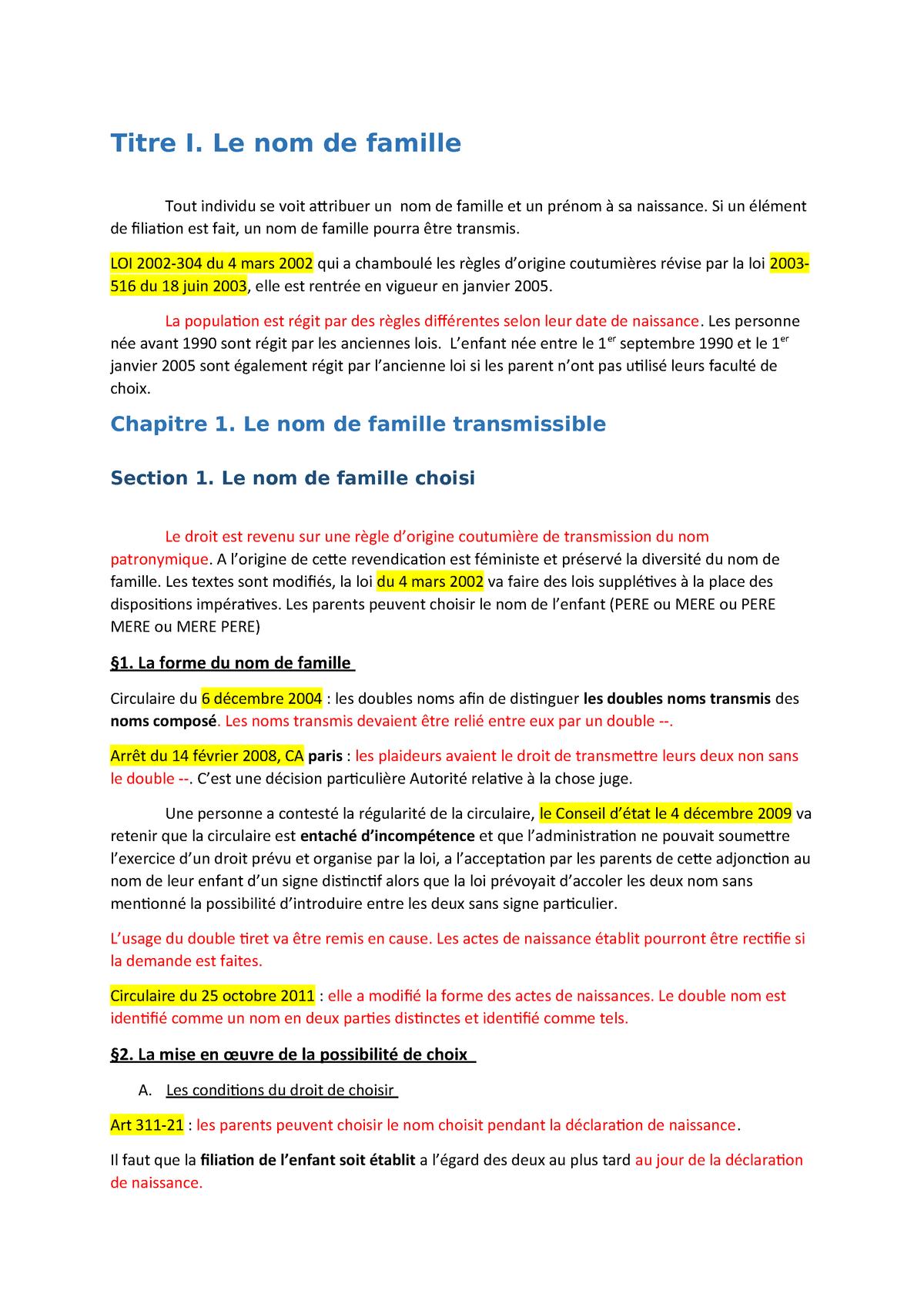 Theme 2 L Identification De La Personne Droit Civil Studocu