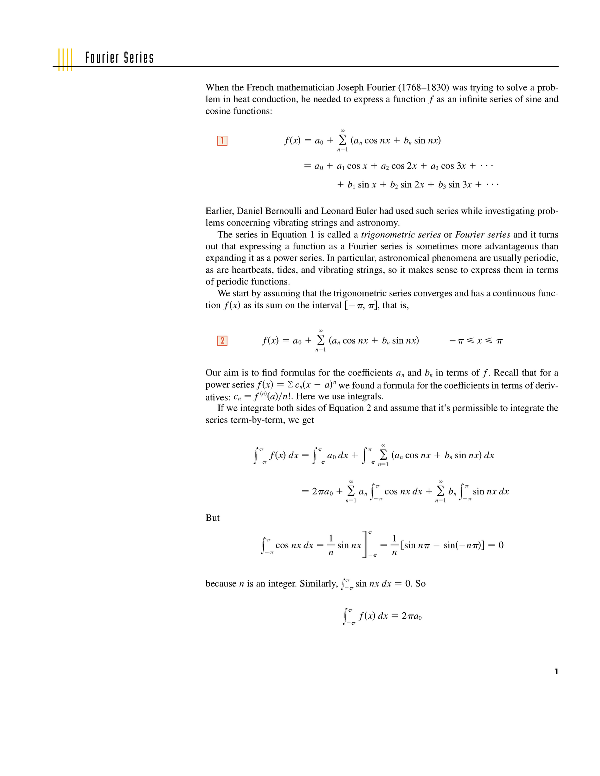 Lecture notes, lecture Fourier Series - MATH 132 - LU - StuDocu