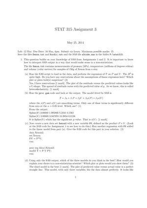 Assignment 3 key semester 1 May 25, 2014 - STAT 315