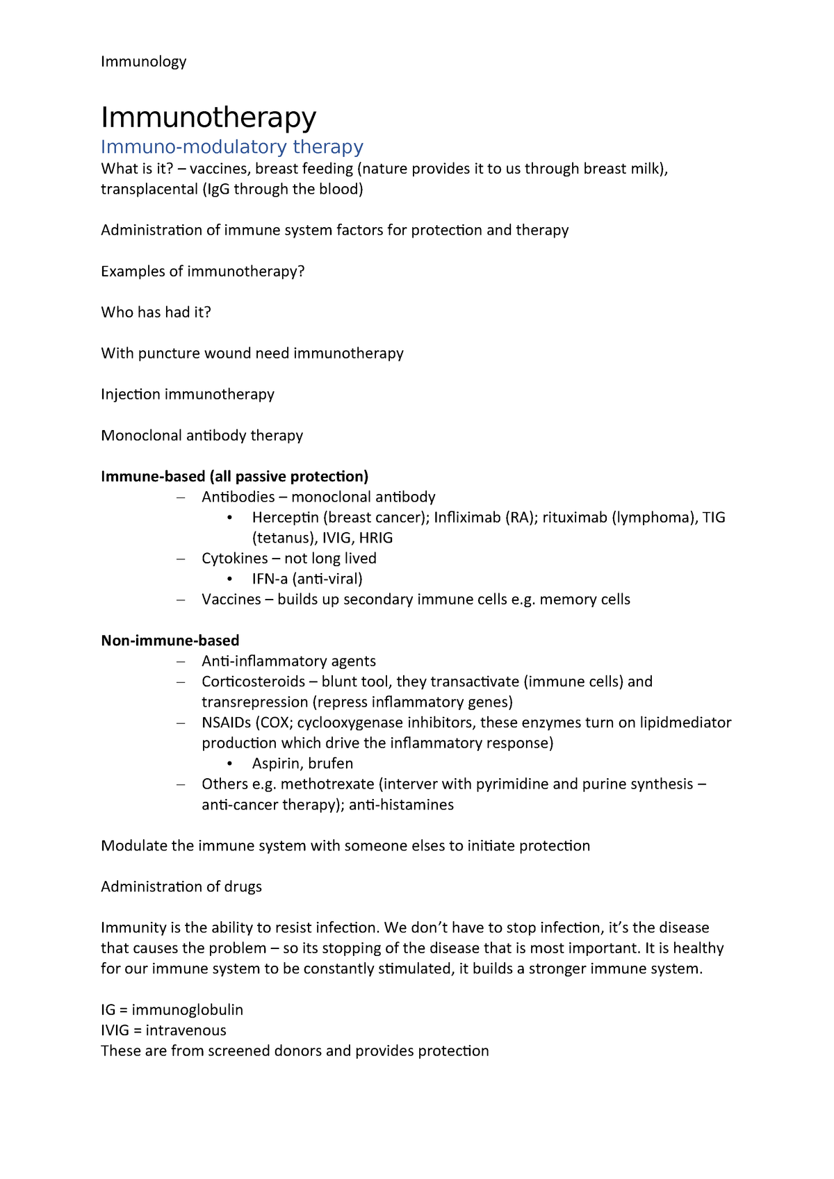 Immunology Immunotherapy - BY2IM1 - Aston - StuDocu