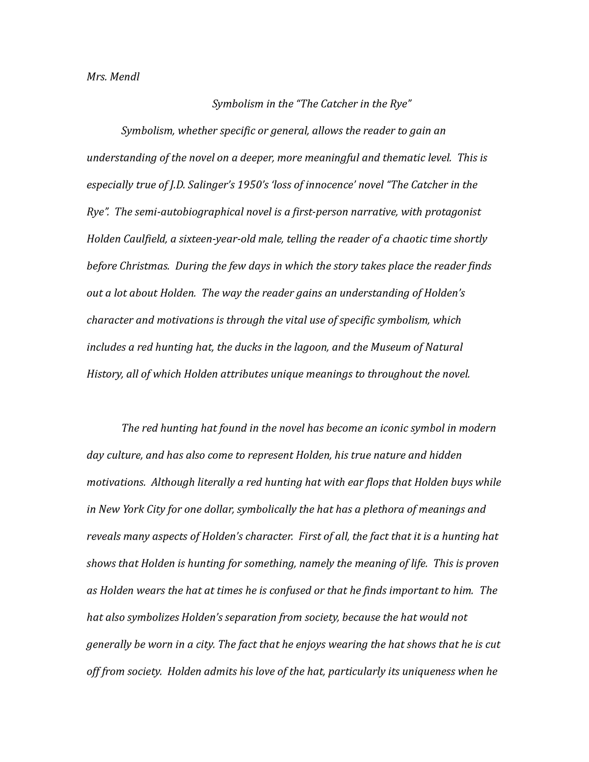 catcher in the rye essay the catcher in the rye unit guide english  symbolism in catcher in the rye en introduction to literary symbolism in  catcher in the rye
