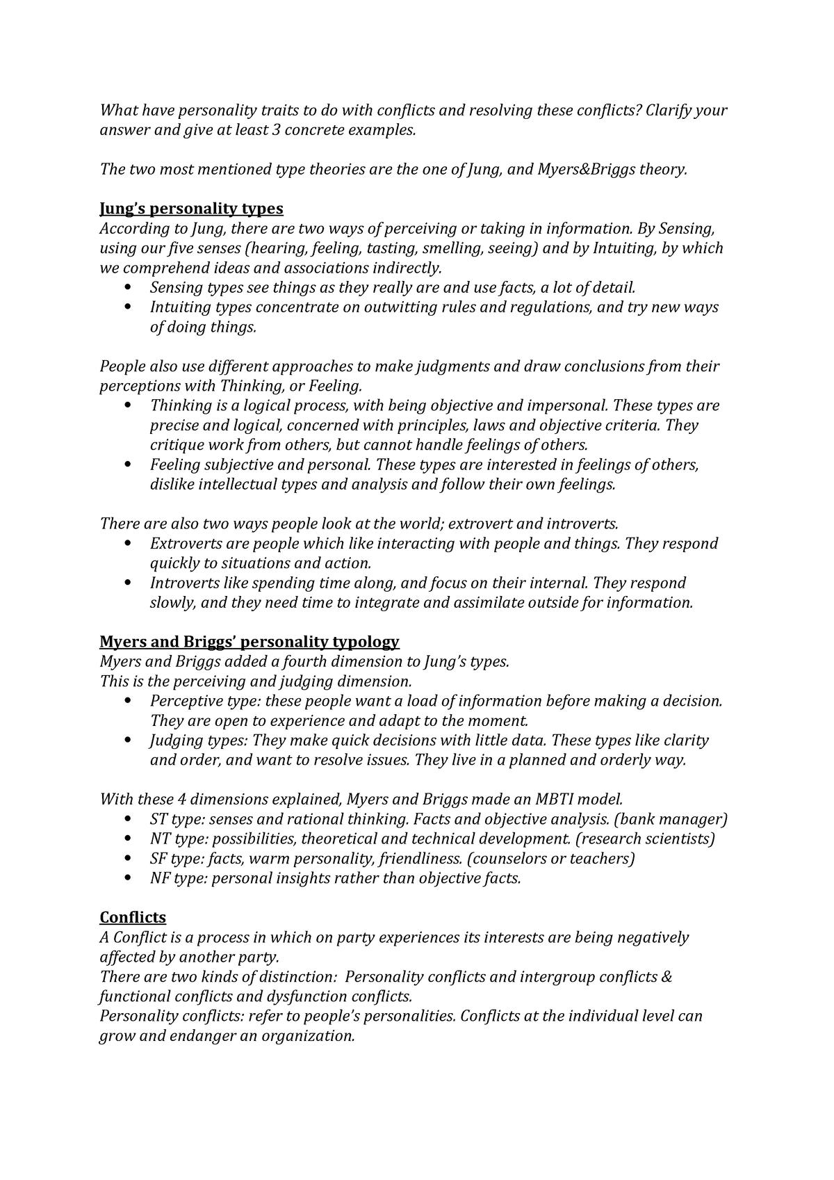 Summary - personality traits & conflicts small summary - StuDocu