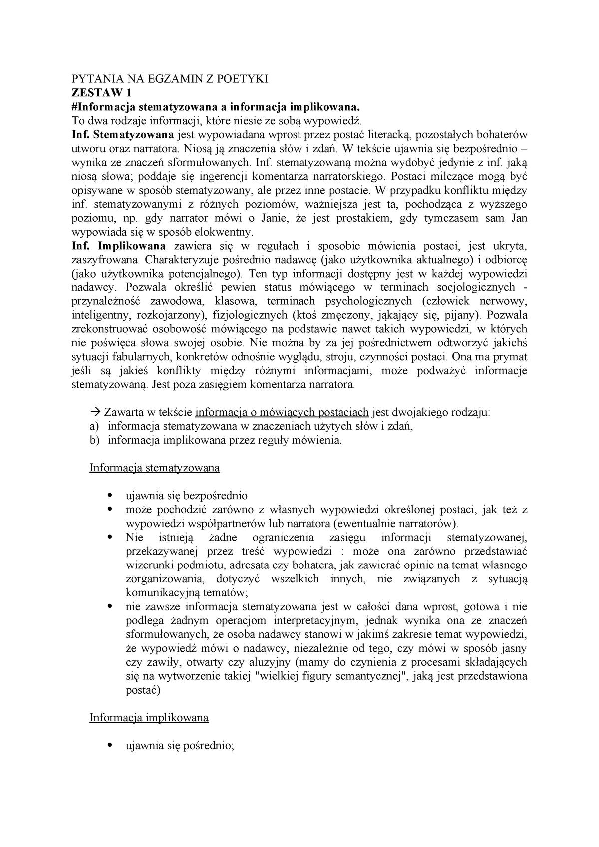 Pytania Na Egzamin Z Poetyki Teoria Literatury Tepo Uj