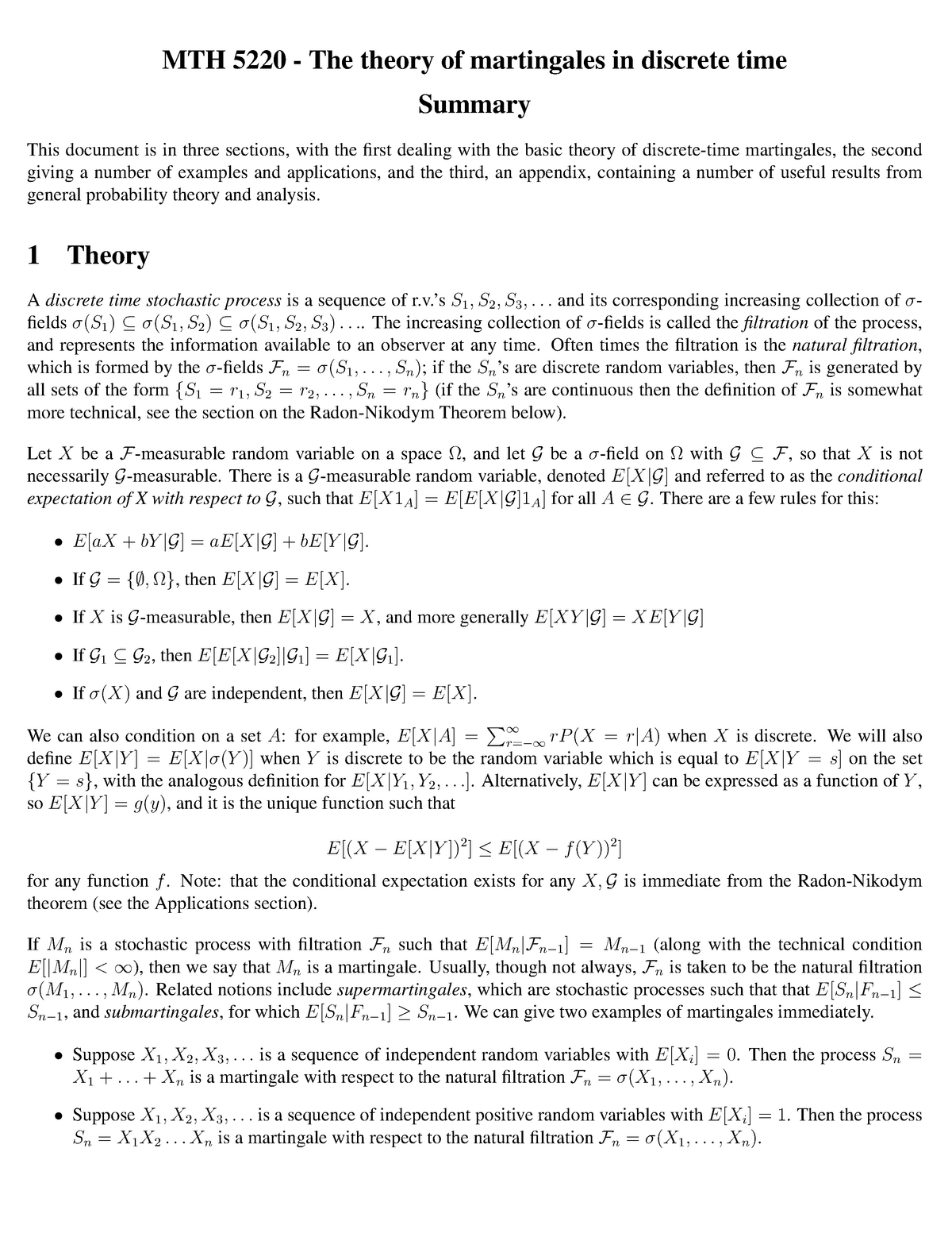 Summary math 5220 - The theory of martingales in discrete