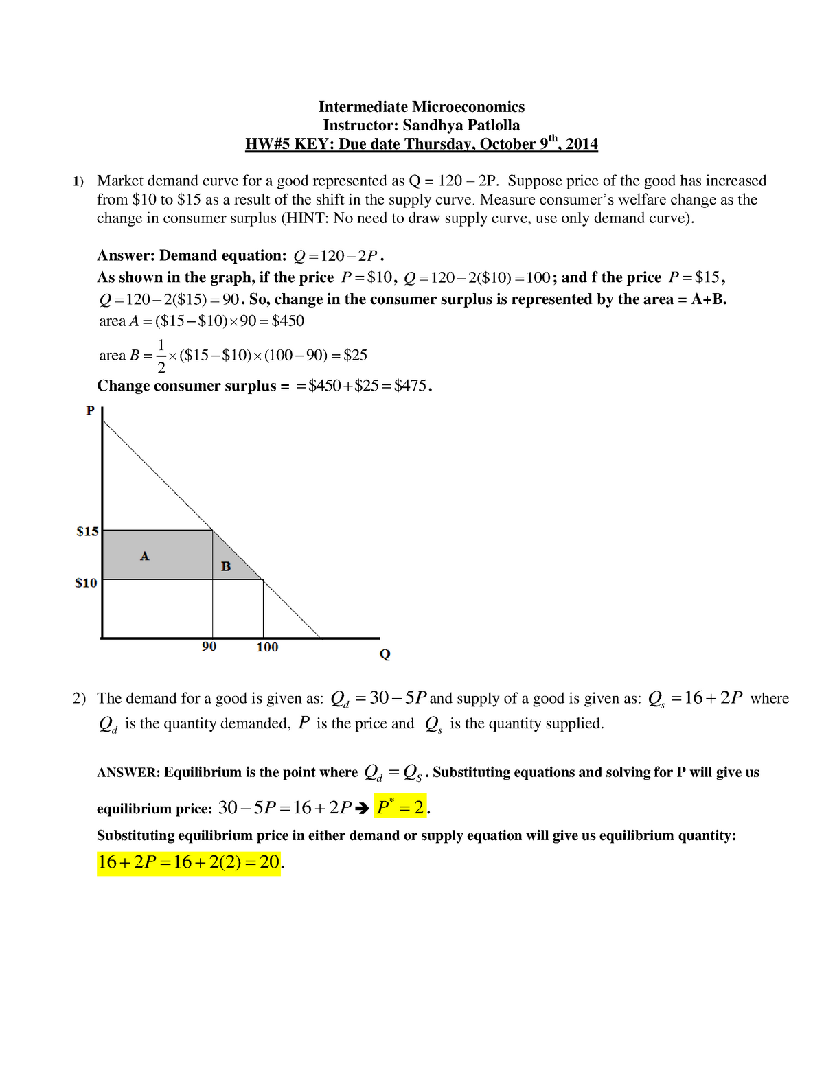 ECON 301 Fall 2014 HW5 KEY - ECON 301: Intermediate