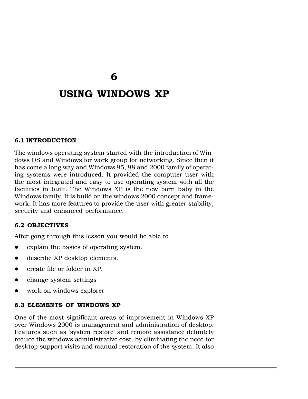 L6 - Using Windows XP - These are notes to help with
