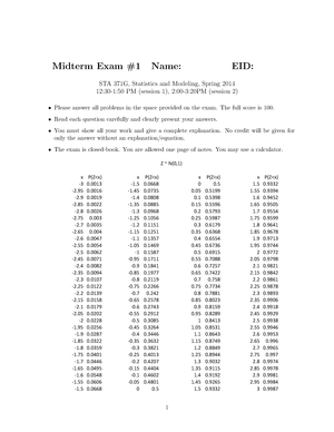 Exam 2014 - STA 371: Statistics And Modeling - StuDocu