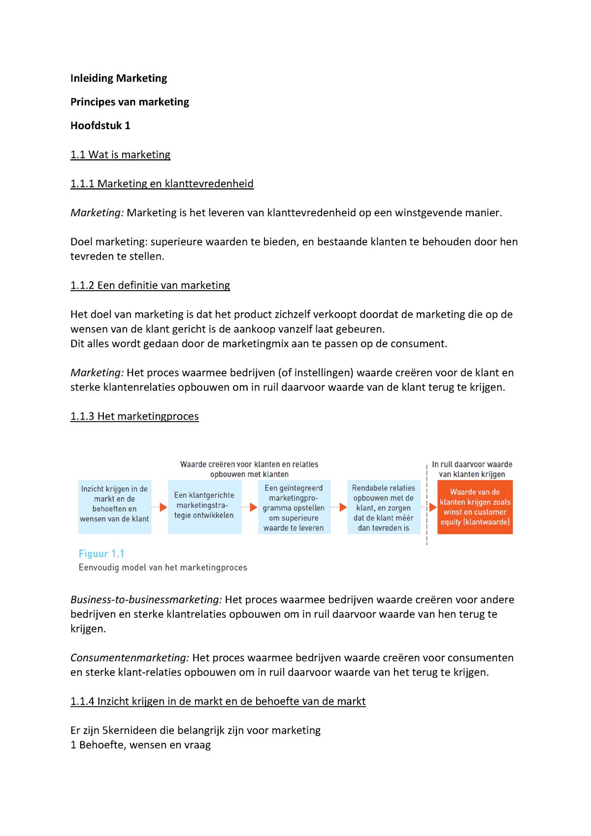 20c619c9ecb Samenvatting Principes van Marketing Kotler - CE1.2IM - StudeerSnel.nl