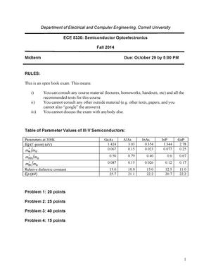 Exam 2014 - ECE 5330: Semiconductor Optoelectronics - StuDocu
