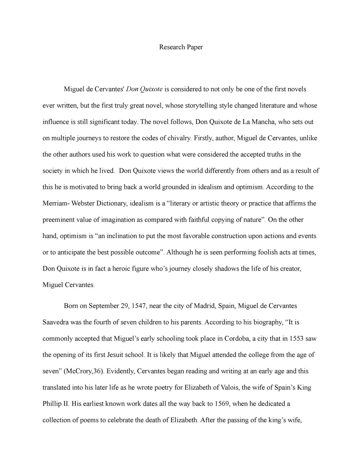 Don quixote research paper benefit of breakfast essay