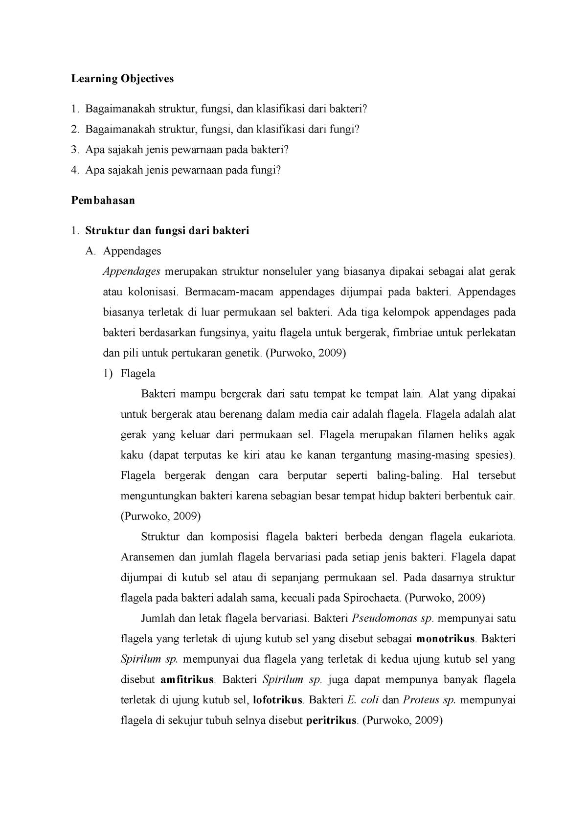 Struktur Fungsi Klasifikasi Dan Teknik Pewarnaan Bakteri