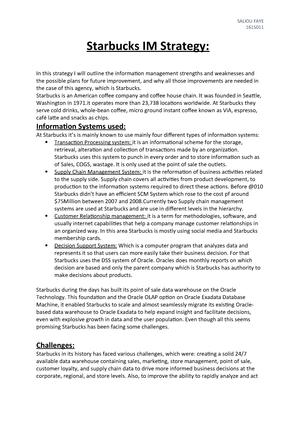 Starbucks IM Strategy - ZBUS1102: Business Economics - StuDocu