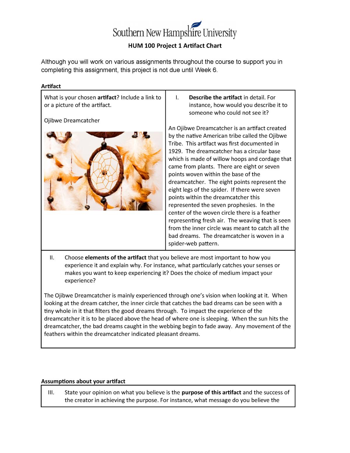 Hum100 project 1 artifact chart (1) Final draft - SNHU - StuDocu