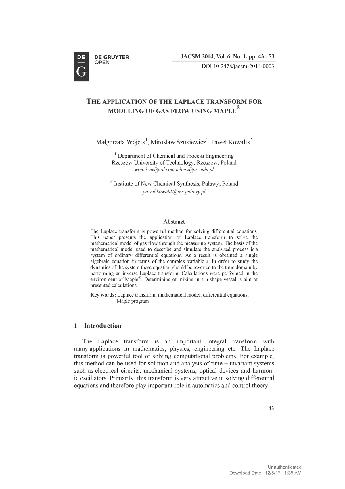 Journal of Applied Computer Science Methods] The Application