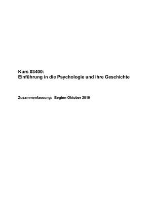 Zusammenfassung Einführung in die Psychologie und ihre Geschichte ...