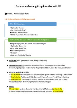 Zusammenfassung Klausur Propädeutikum Politikwissenschaft
