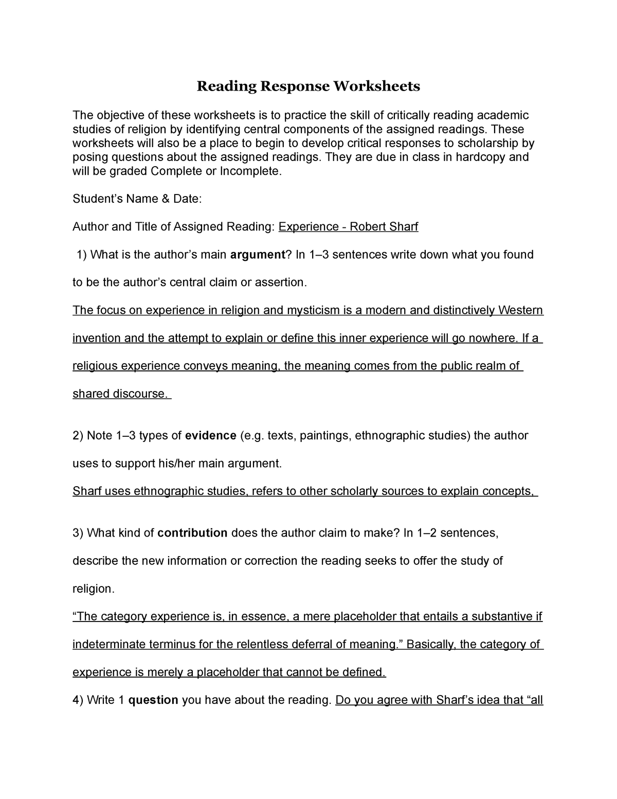 Experience - Sharf Reading Response Worksheet - RELS 2600
