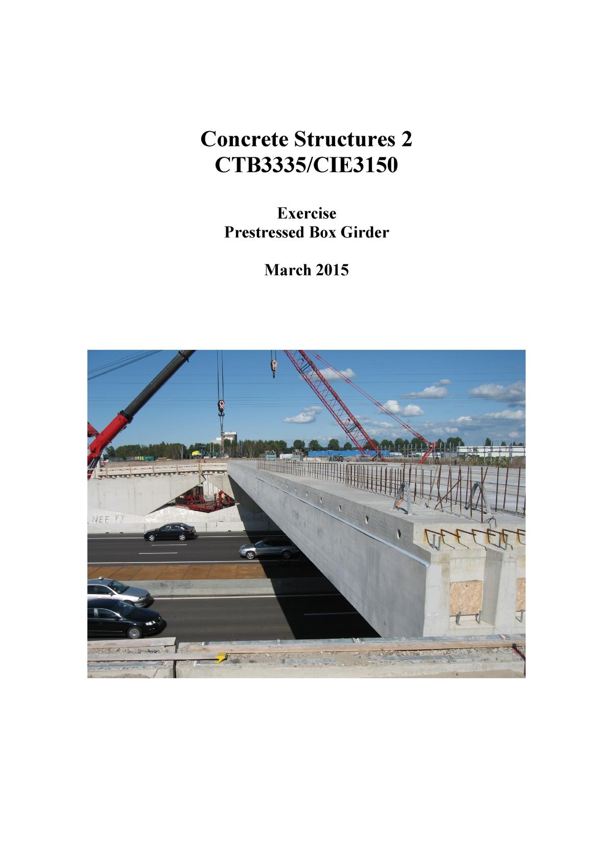 Exercise Beam v 01 - CIE4160: Prestressed Concrete - StuDocu