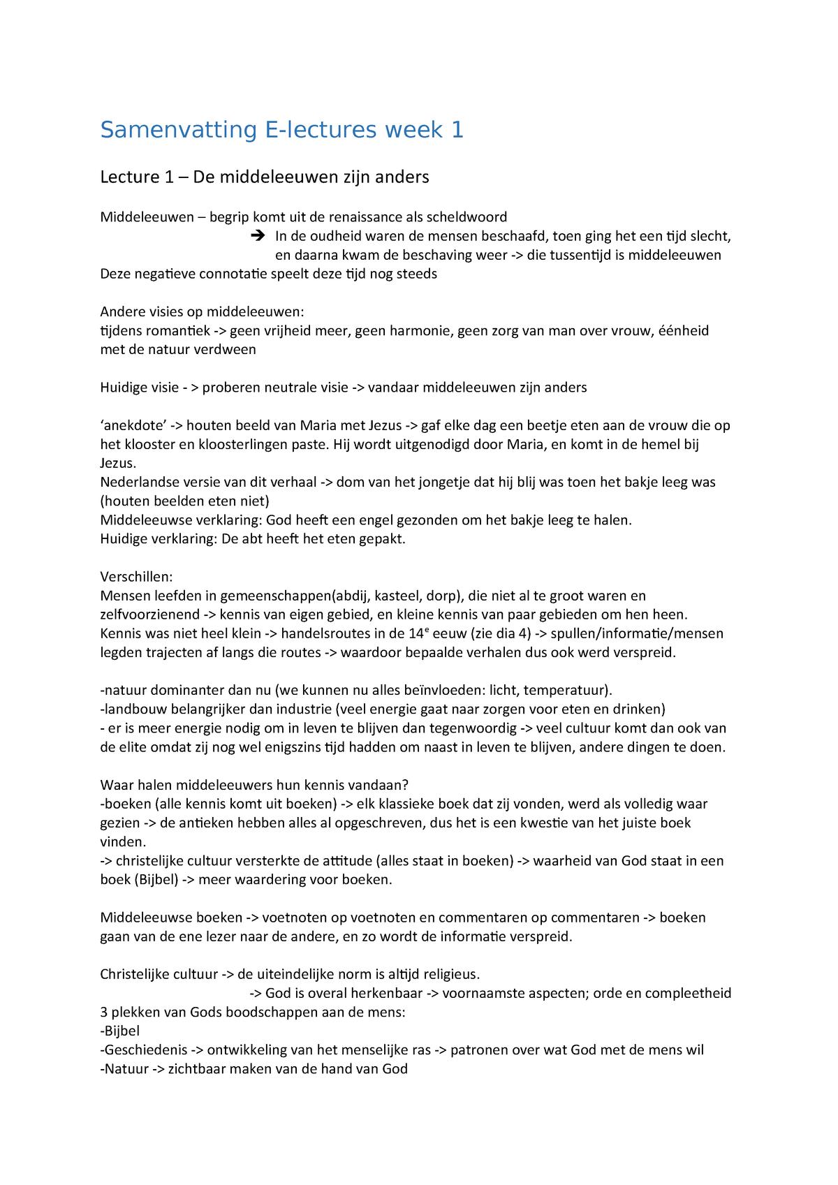 Samenvatting Electures Middeleeuwen - NE2V13003 - StudeerSnel