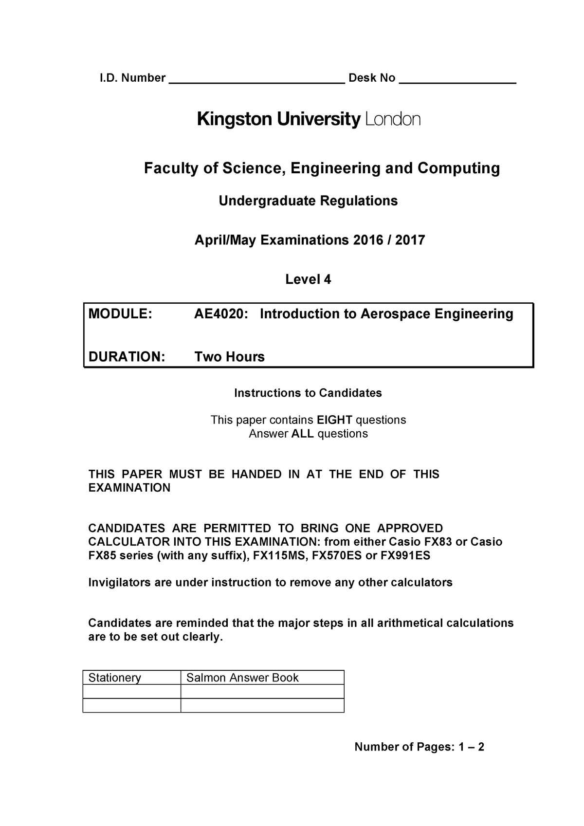 Exam 2017 - AE4020: Introduction to Aerospace Engineering