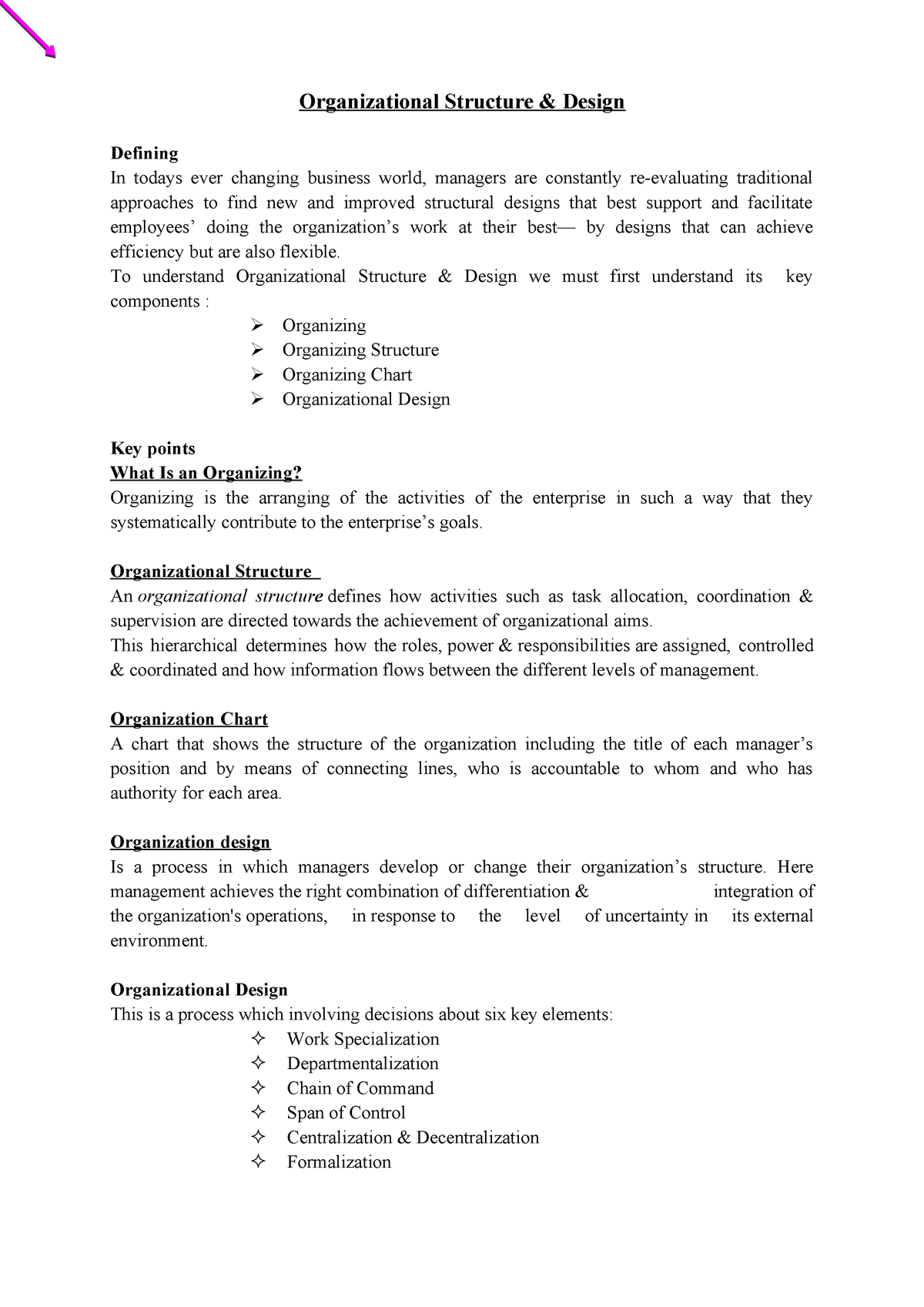 5 Org Strc Stu Lecture Notes 5 Management Mgt101 Studocu