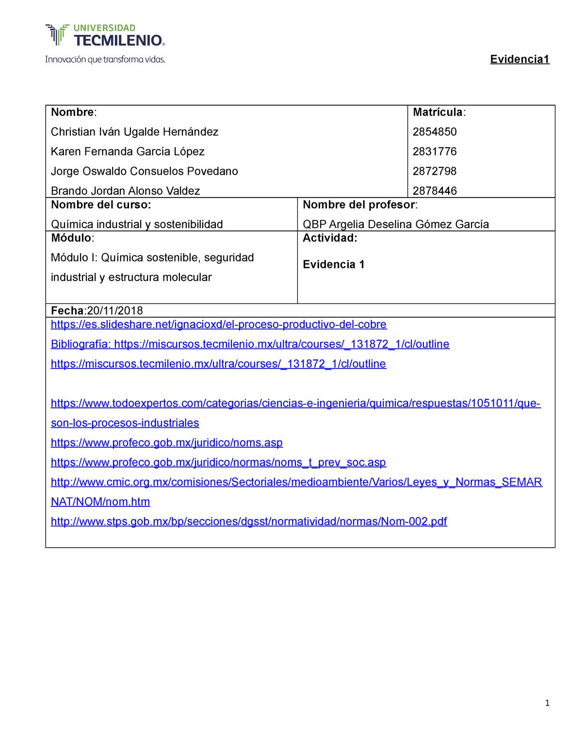 Evidencia 1quimica 1 Química Industrial Y Sostenibilidad