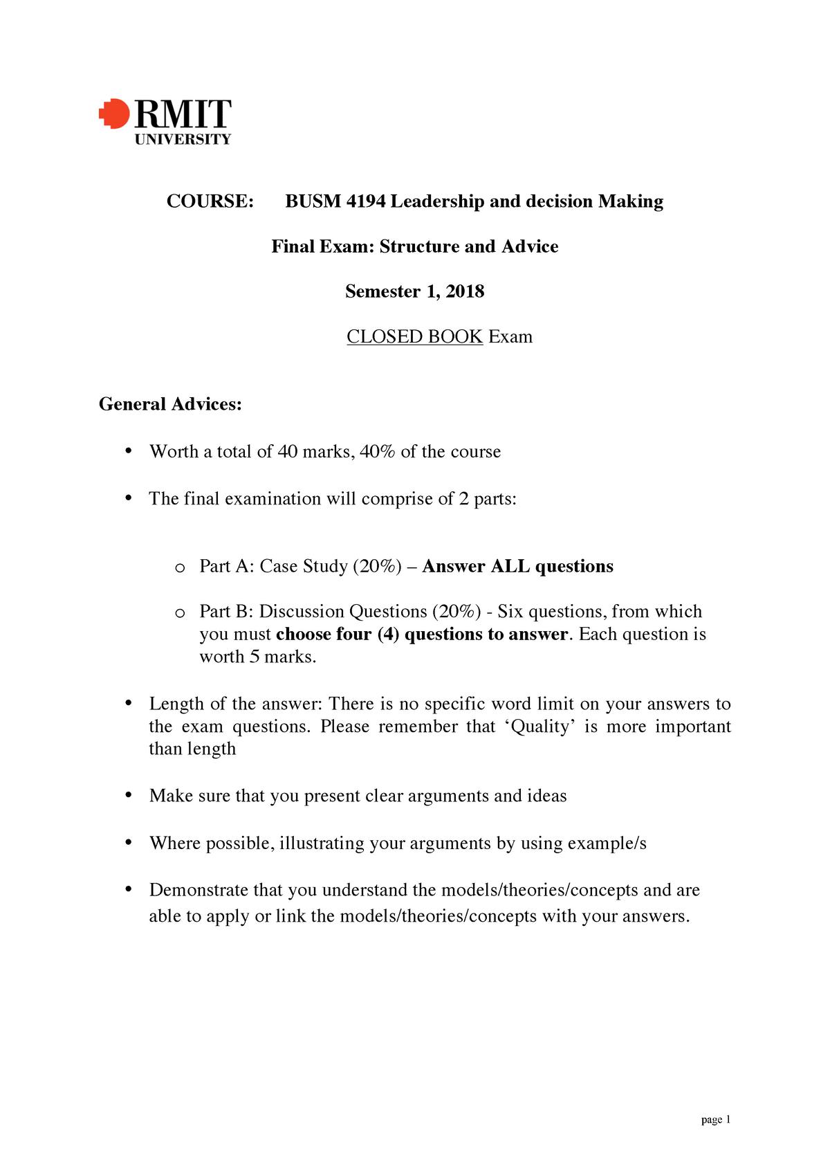Final BUSM4194 Exam advices-2 - RMIT - StuDocu