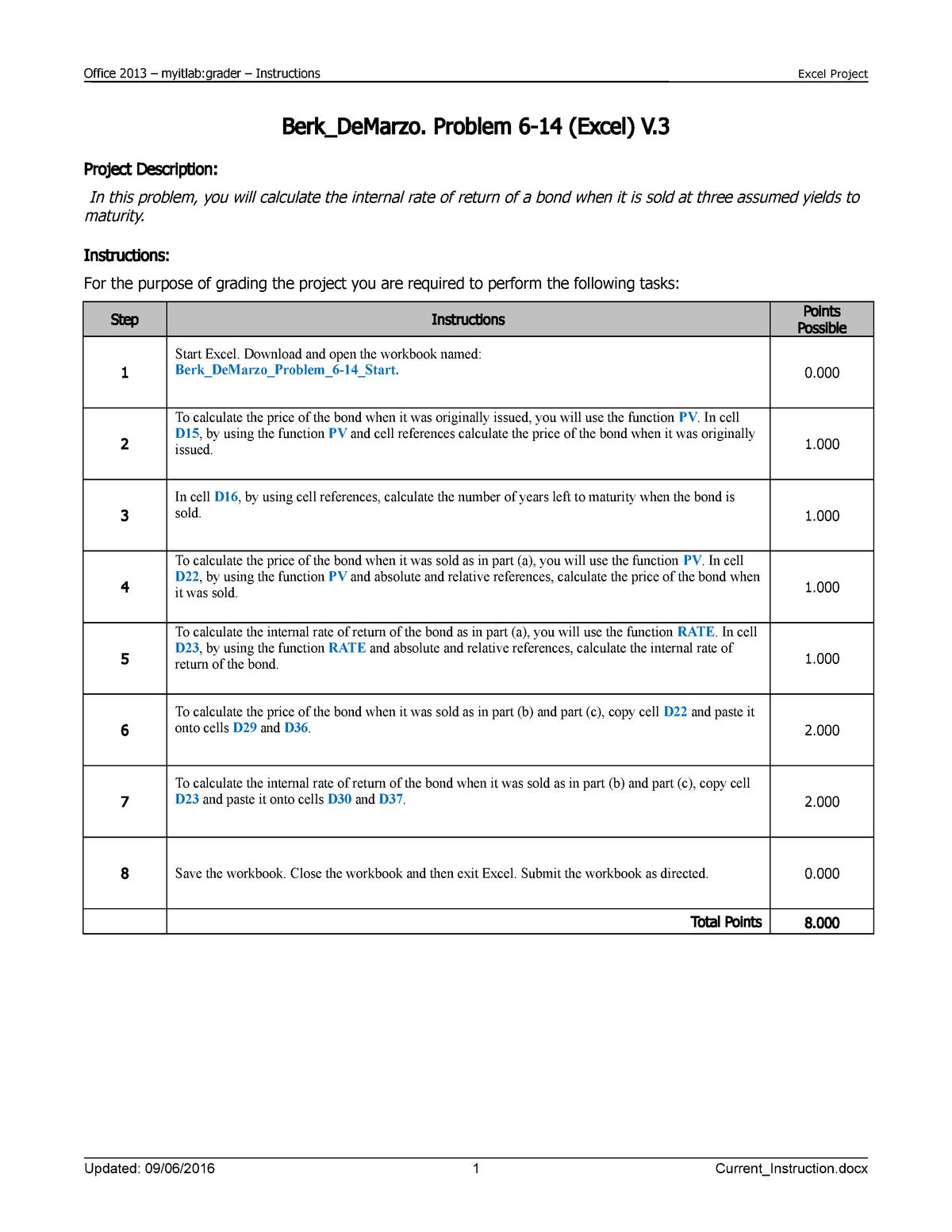 Berk De Marzo Problem 6-14 Excel V3 Instructions - FINA 6604