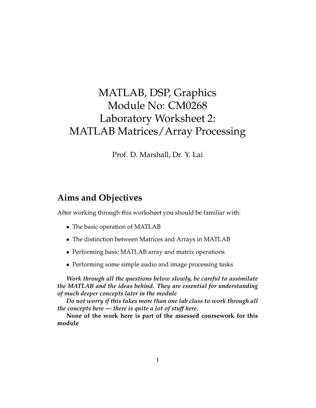 Lab Sheet 2: MATLAB Matrices/Array Processing - CM0268 - StuDocu