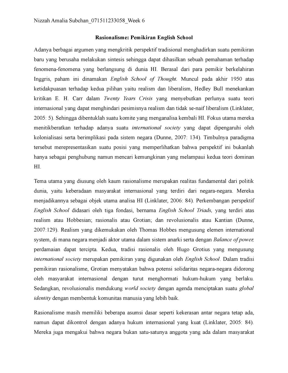 Week 6 Rasionalisme Pemikiran English School Soh201 Studocu