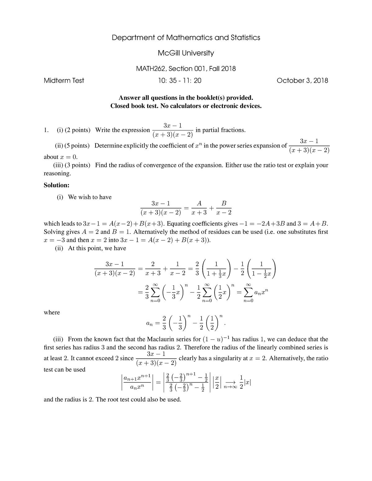 Exam 2018 - MATH 262: Intermediate Calculus - StuDocu