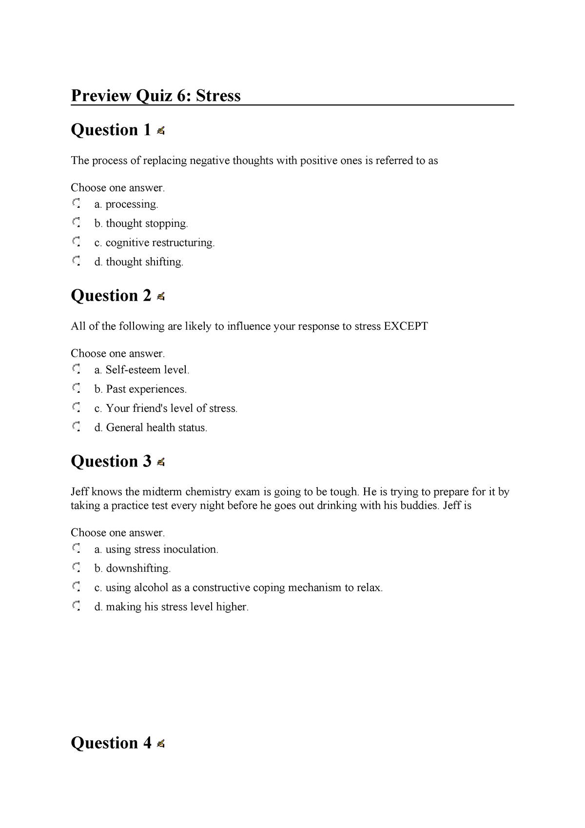 Preview Quiz 6: Stress - Health Behaviour - HBS110: Health