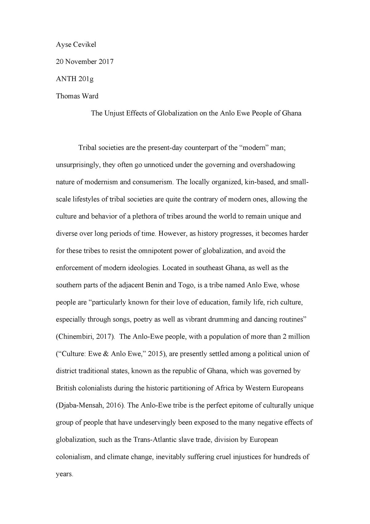 ANTH 201 Final Paper - ANTH201g - USC - StuDocu