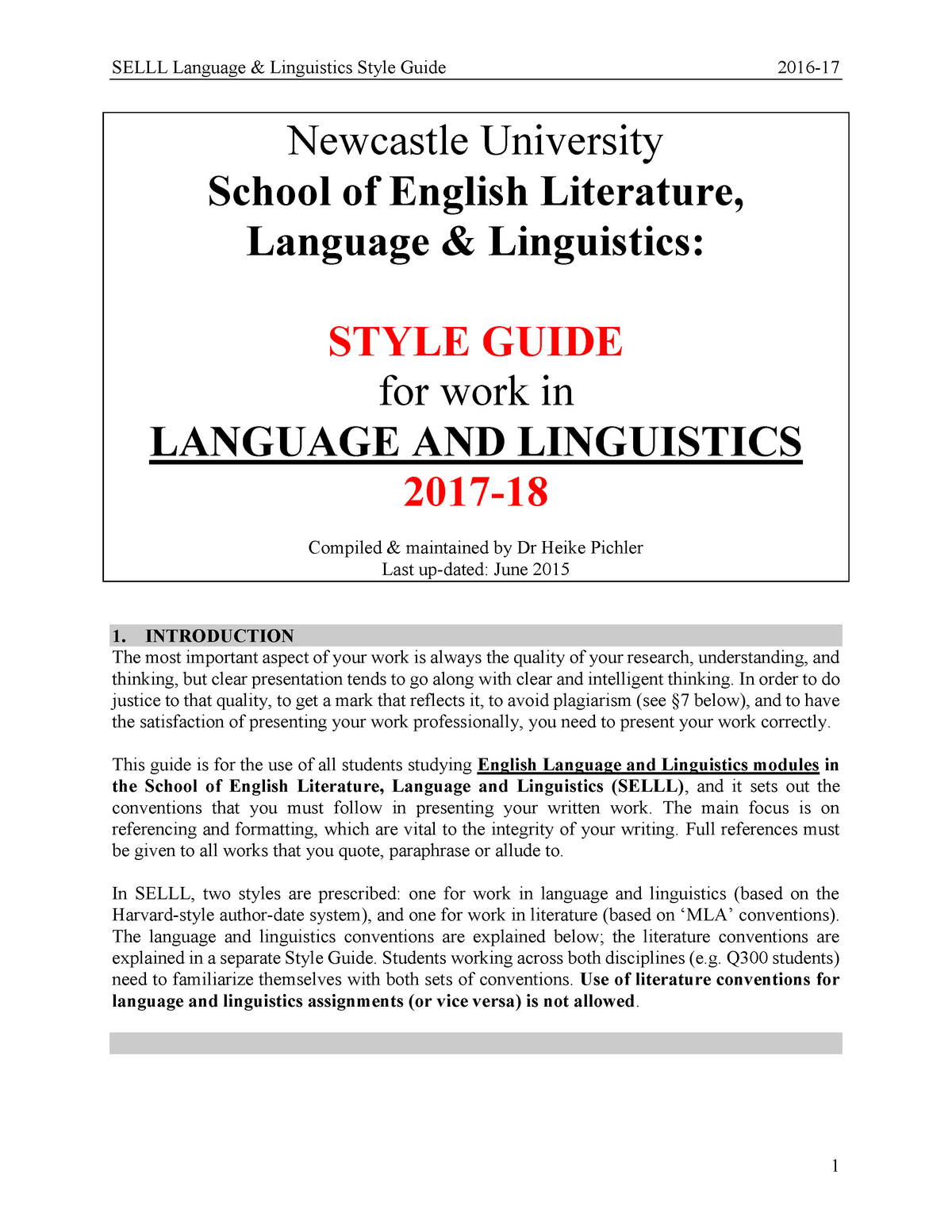 Selll language linguistics style guide 2017-18 - SEL1007: The Nature