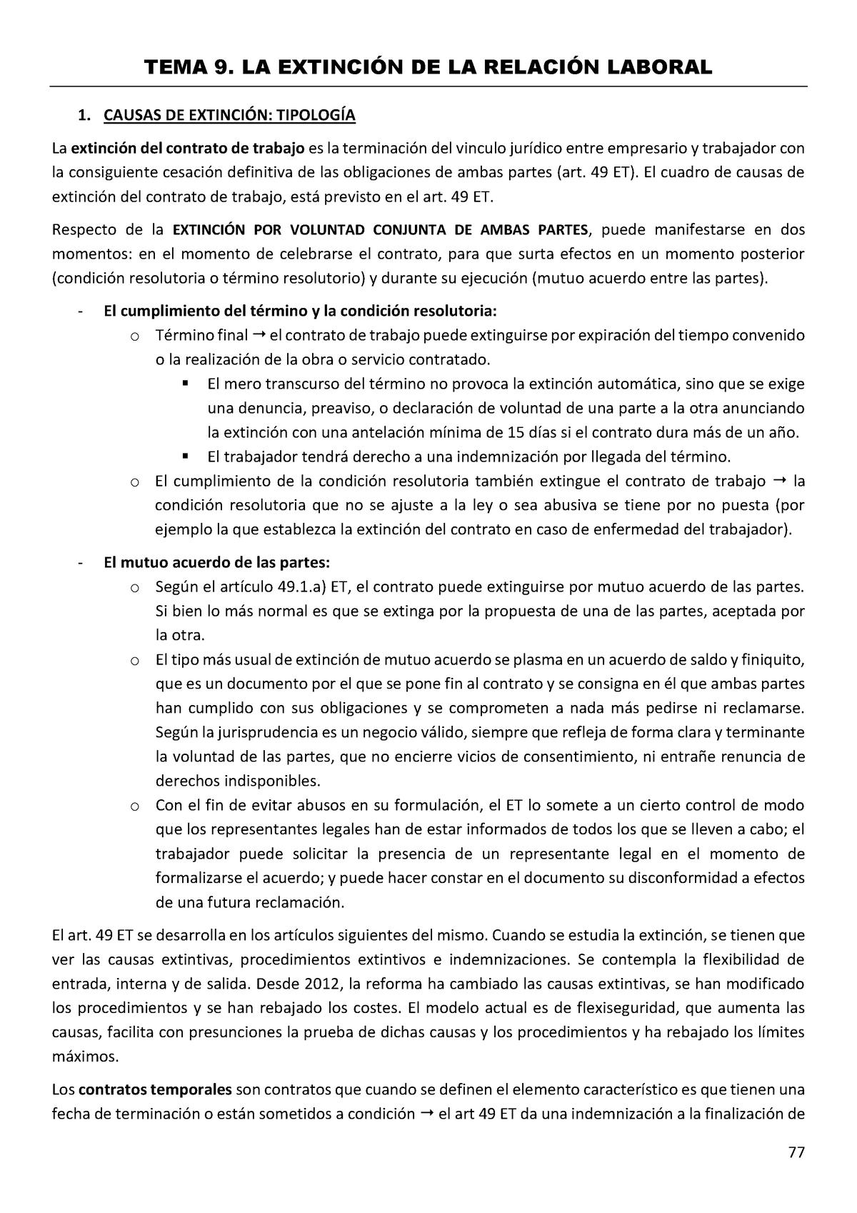 Tema 9 Laboral Derecho Individual Del Trabajo Upf