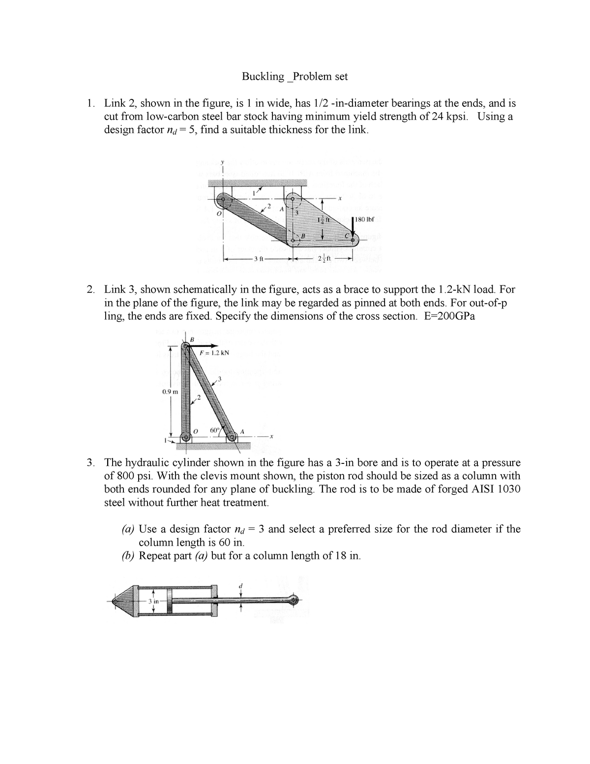 Tutorial work - problem set 5 - buckling - 5931: Mechanics